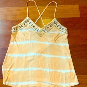 Express Peach and White, Cross-Back Top